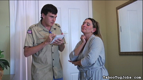 Boyscout at devon james  door. Devon James was about to jump in the shower, but threw on her robe when she heard a knock at the door. She answers it to find a elegant boyscout selling cookies for his troop. She's glad that she's in a bathrobe, wearing nothing underneath it.