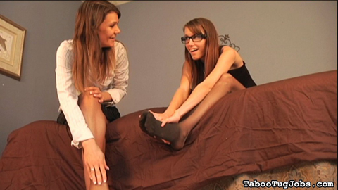 Kaci and trish give their sore feet to their neighbor. Kaci and Trish, two hot stepsisters, have returned home, exhausted from work. Of course, these excited girls do it all in high heels. Trish did notice the neighbor boy looking at their feet