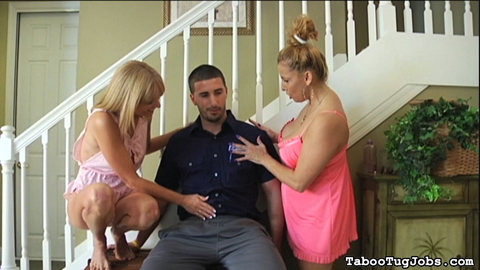 Tired mail man gets a treat from staci starr and jessica sexxxton. The doorbell rings. A mailman needs a certified letter signed off. Staci and Jessica notice how tired he looks. They sit him down and rub on his thighs.