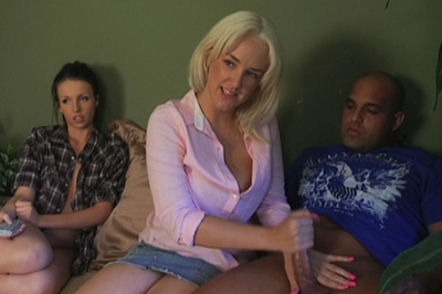 Kriselle watches as mandy suc 51. If she isn't going to leave, she'll just have to watch. Mandy sits her boyfriend down next to Kriselle, pulls down his pants, and tugs on his tool with her mouth.