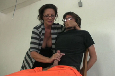 Prison hand job torture 89. Her prisoner wants her to stop. He even gets a bit mouthy with her. But he can't move and she has his erect dick in her hand.