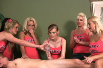 Friendly advice for 1st jerk 76. The ad brings out a line of guys. Their friends have to choose. Amanda and Barbie take turns stroking his cock, their friends giving them tips.
